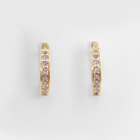 Золотые серьги с аметистом