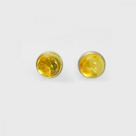 Золотые пуссеты с янтарем