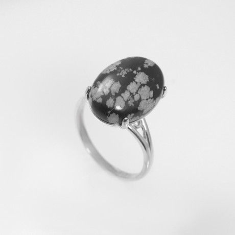 Кольцо со снежным обсидианом