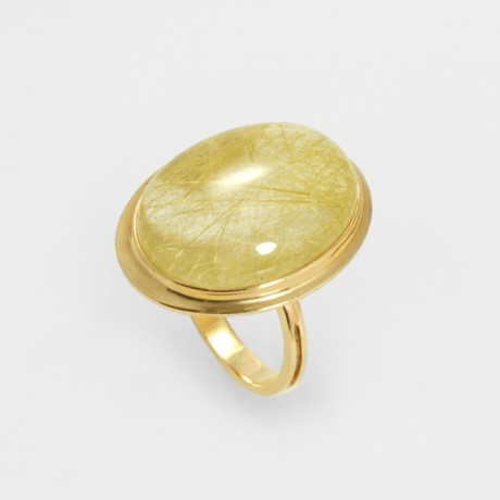 Кольцо с кварцем-волосатиком