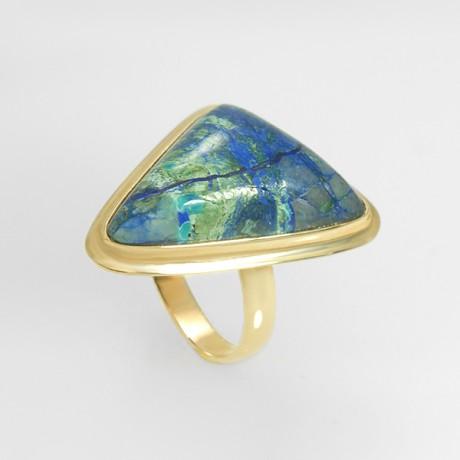 Золотое кольцо с хризоколлой
