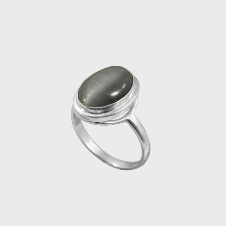 Серебряное кольцо со вставкой кошачий глаз искусств.