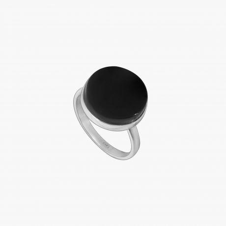 Серебряное кольцо с черным агатом
