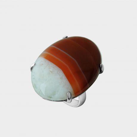 Серебряное кольцо с агатом сердоликовым