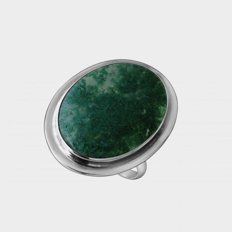 Серебряное кольцо с моховым агатом