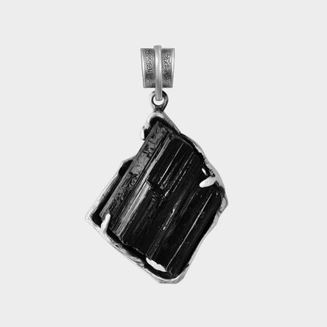 Серебряный подвес с шерлом (чёрным турмалином)